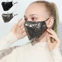 Fashionable cotton face/mouth mask with sequins - anti-pollution - breathable - protection