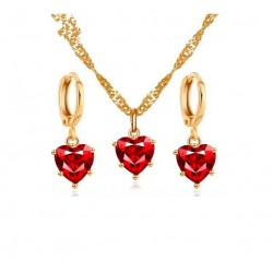 Golden necklace & earrings set with red heart