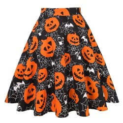 Vintage - high waisted skirt - flowers & Halloween print - cotton