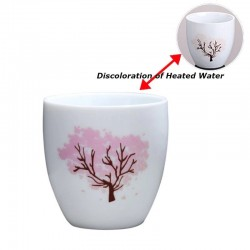 Color changing ceramic cup - hot & cold temperature discoloration - Japanese Sakura
