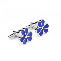 Silver cufflinks - blue enamel flowers