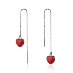 Long earrings with red heart