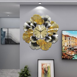 Ginkgo leaf - luxurious wall clock - quartz - 60cm
