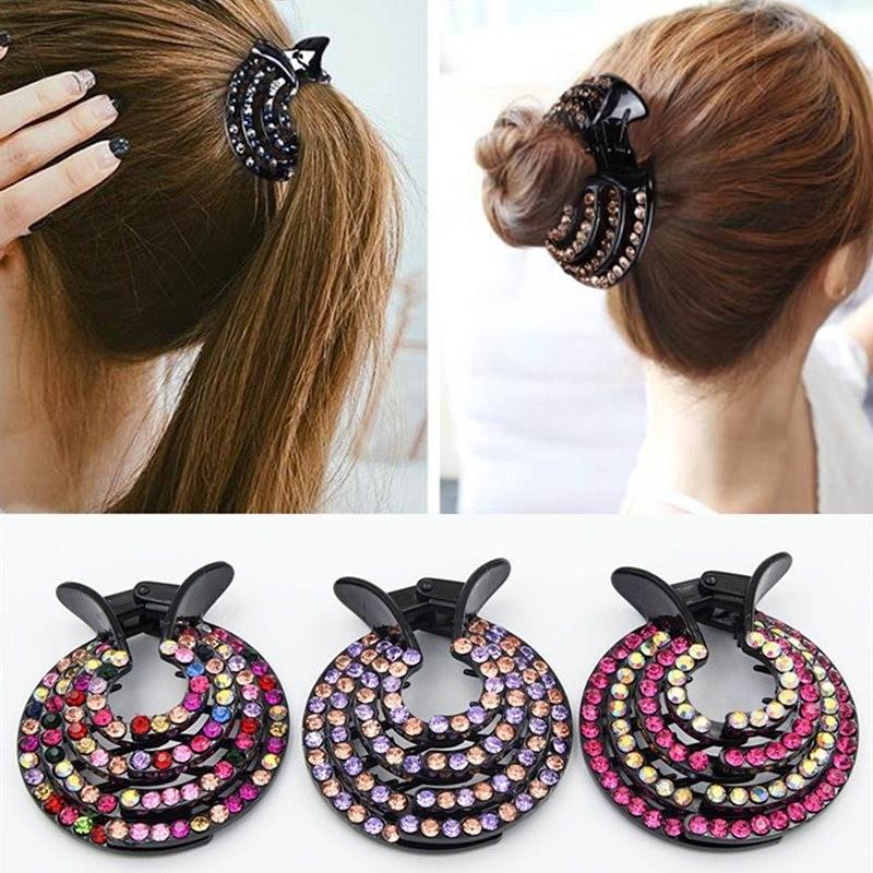 Crystal hair clip - hair claw - for making a bun / donut