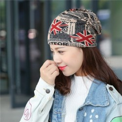 Multifunctional beanie - scarf - unisex - UK flag - newspaper design