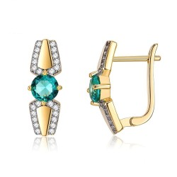 Gold small earrings with green zirconia