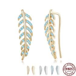Crystal leaves earrings - 925 sterling silver