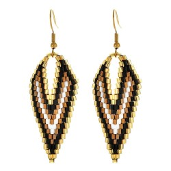 Long earrings with beads - V-shaped