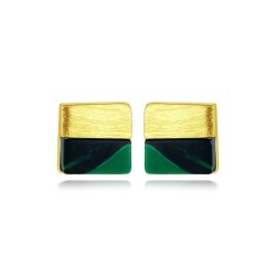 Luxurious square stud earrings - with turquoise - 925 sterling silver