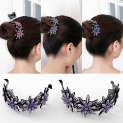 Floral hair clip - bun maker - claw - with sparkling rhinestones