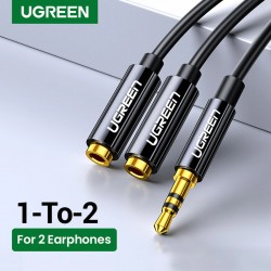 Headphone splitter - AUX cable - 3.5mm jack - 1 male to 2 female - ABS / aluminum