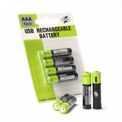 Lithium AAA batteries - USB rechargeable - quick charging - 1.5V - 600mAh - 2 / 4 pieces