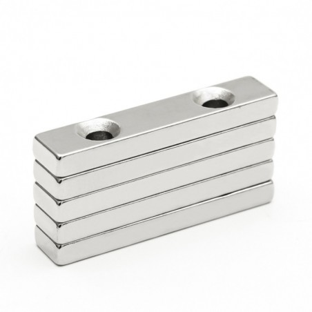 N35 - neodymium magnet - rectangular - with double 5mm holes - 50 * 10 * 5mm - 3 pieces