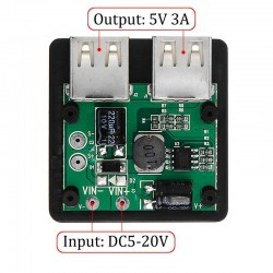 Double USB regulator - solar charger - for phones / power bank / fans - 5-20V - 5V 3A