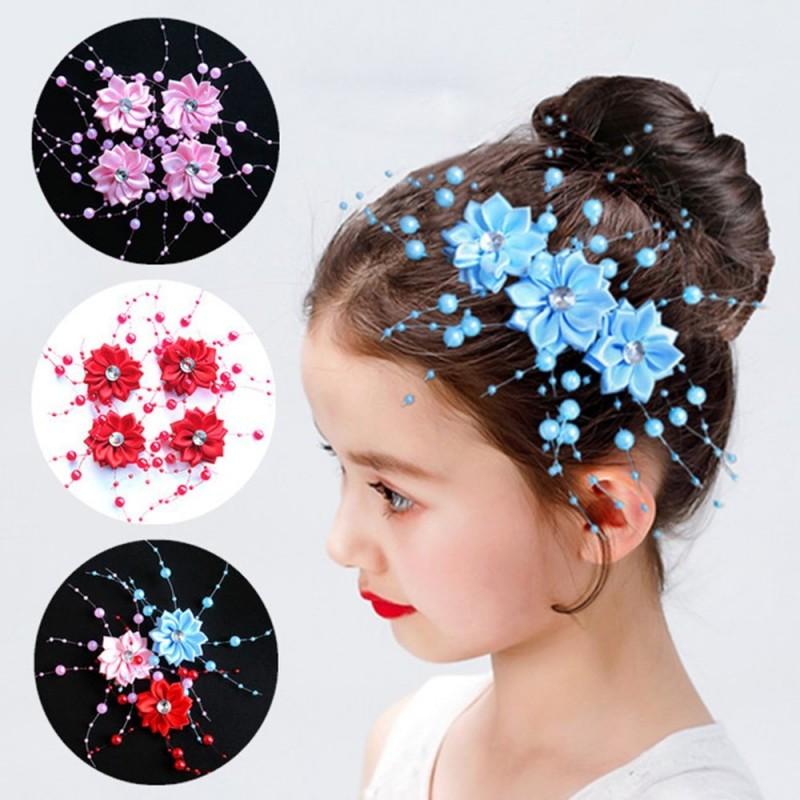 Elegant round hair clip - gypsophila flower - with pearl decorations