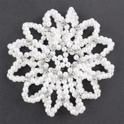 Hair bun cover - handmade - crochet design - with pearls