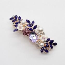 Luxury hair clip with purple crystal flowers