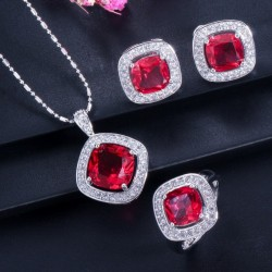 Elegant jewellery set - necklace / earrings / ring - with sapphire - sterling silver