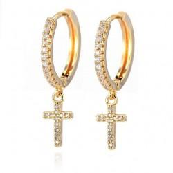 Round crystal hoops earrings with cross