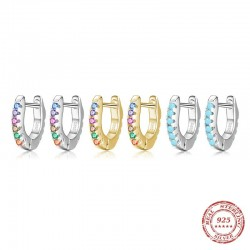 Mini hoop earrings - 925 sterling silver - colourful crystals / turquoise