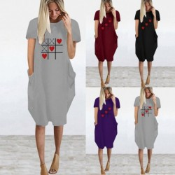 Fashionable vintage loose dress - with pockets / hearts print