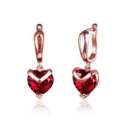 Luxurious earrings with red crystal heart