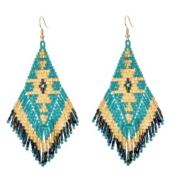 Ethnic style long earrings - with crystals beads
