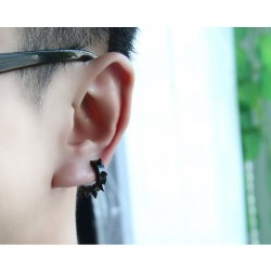 Hip Hop style small round earrings - with rivets - black / silver - unisex