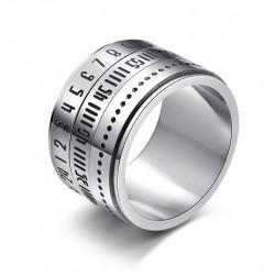 Titanium ring with arabic numerals & time rotating - calendar