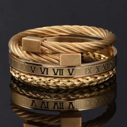 Stainless steel bracelet - hip hop style - Roman numerals / crown - set 3 pieces
