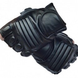 Black leather gloves - fitness / gym /cycling - half finger