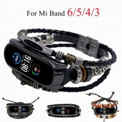 Multilayer leather bracelet - strap - with beads / metal decorations - for Xiaomi Mi Band 3 / 4 / 5 / 6