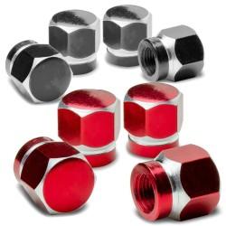 Universal car wheel valves - aluminum caps - hexagonal - 4 pieces