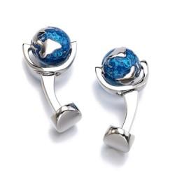 Elegant silver cufflinks - with rotatable blue earth globe
