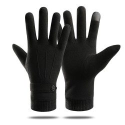 Elegant warm gloves - touchscreen function - with a decorative button