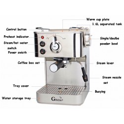 Gustino 19Bar Stainless Steel Semi Automatic Coffee Maker Espresso Cappuccino