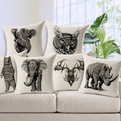 Cotton pillowcase - cushion covers with animal print 45 * 45cm