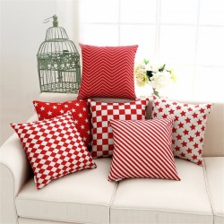 Red & White Pillowcase Cushion Cover Cotton 45 * 45cm