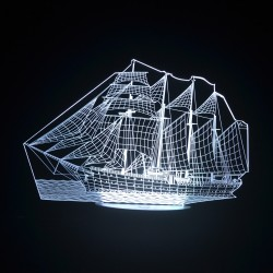 3D Ship Acrylic Optical LED Night Light
