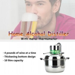 Stainless Steel Home Alcohol Distiller Brewing Device Spirits Distillation Boiler 10L