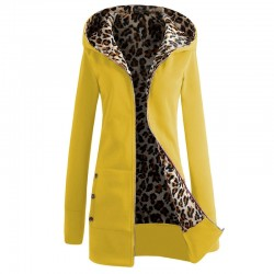 Women's hooded jacket - fleece coat with leopard print