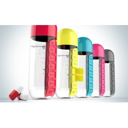 Daily Pill Box Organizer Leakproof Drinking Water Bottle 600ml