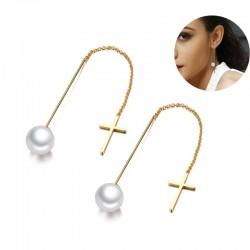 Pearl drop long line elegant earrings