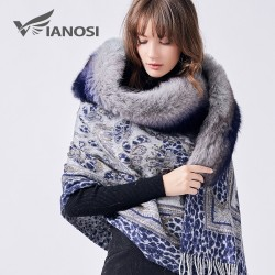 Luxury Real Fox Fur Collar Wool Winter Scarf Poncho
