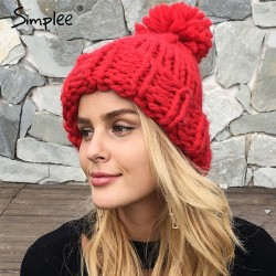 Knitted Wool Hat Cap With Tassel