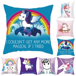 Printed Unicorn Pillowcase Cushion Cover Case Cotton 45 * 45cm