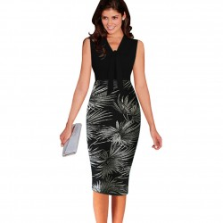 Leaf Print Elegant Patchwork Dress