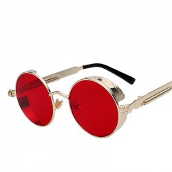 Gothic Steampunk Mens Coating Mirrored Round Circle Sunglasses