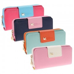 Long leather women's wallet