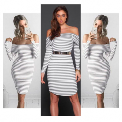 Off shoulders striped pencil dress